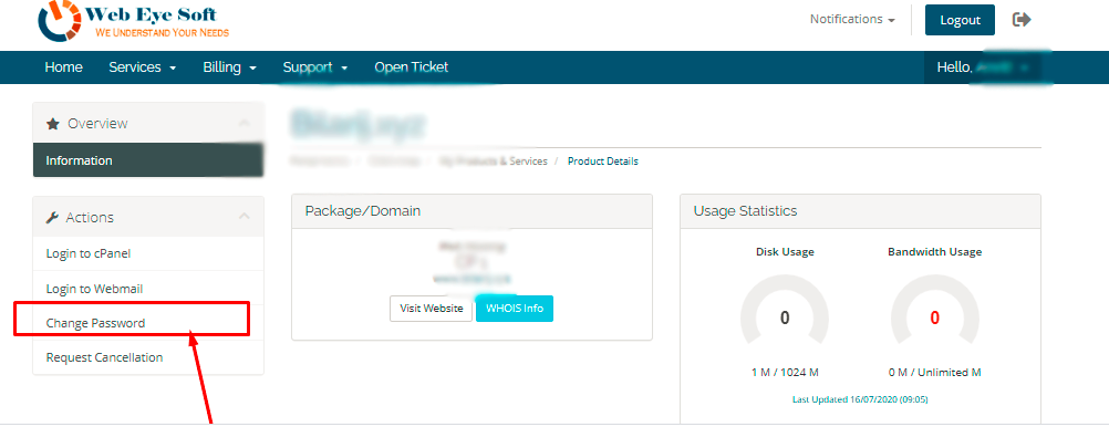 click on change password for cpanel