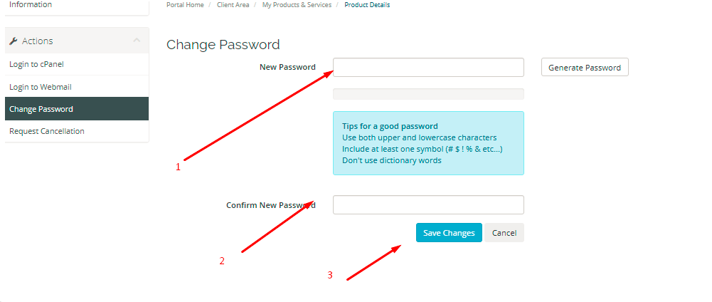 Enter your new password