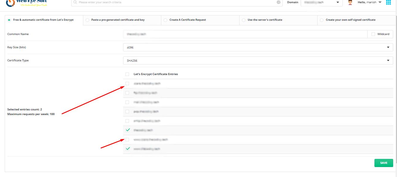 Just  select domain and install SSL