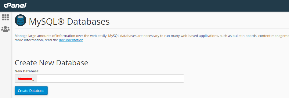 Create Database in cPanel