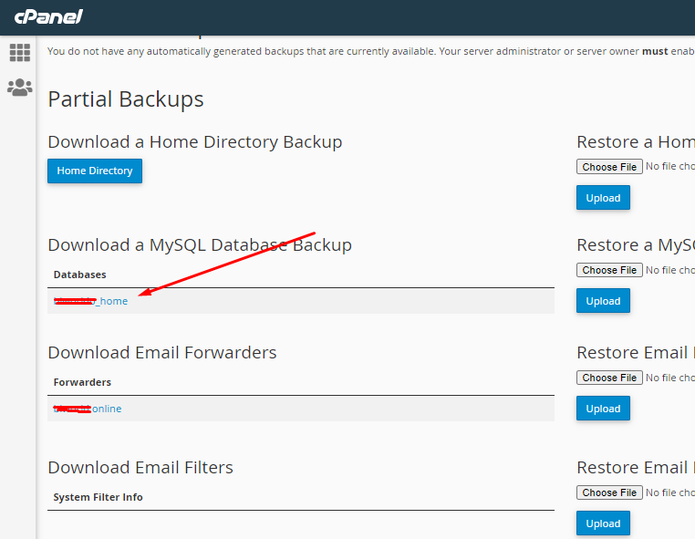 Download mysql Backup