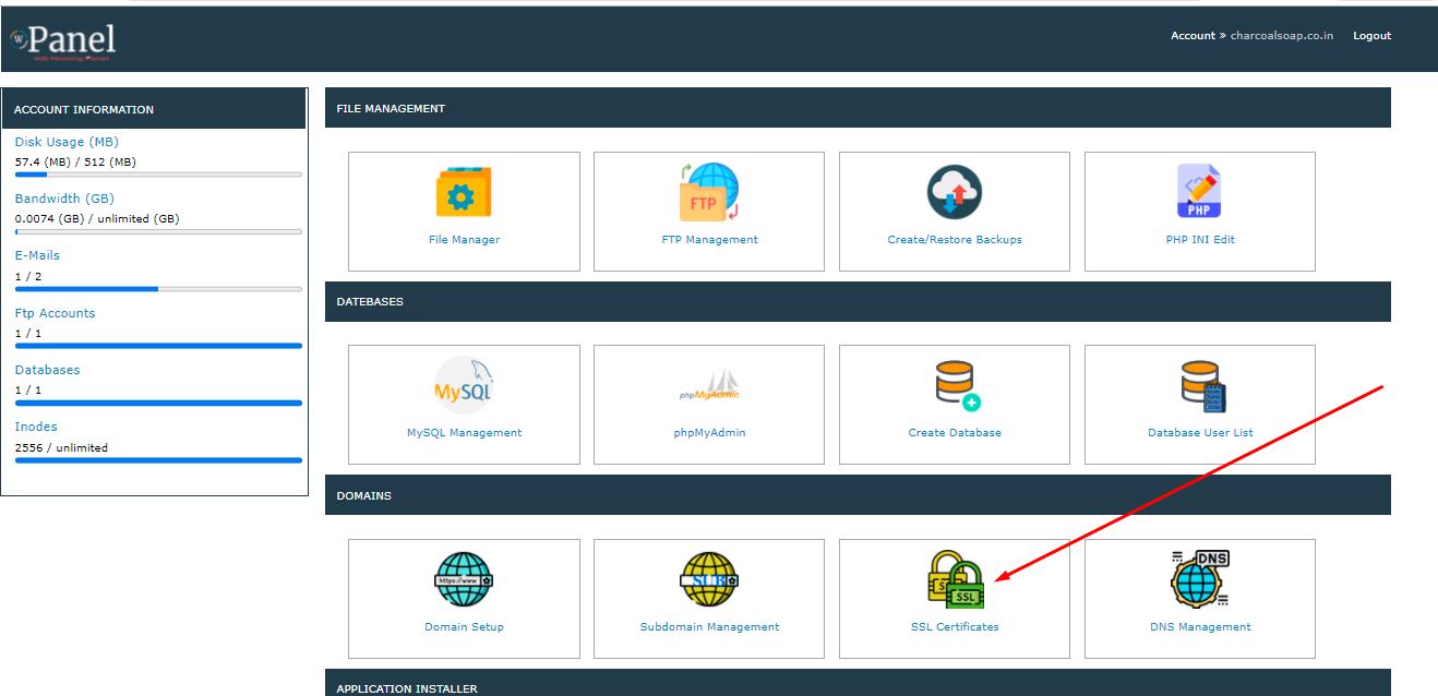 click on ssl certificats