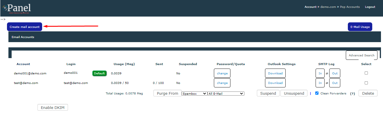 how to create email account in control panel step 2