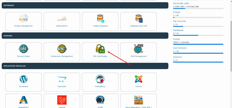 click on ssl icon for install SSL