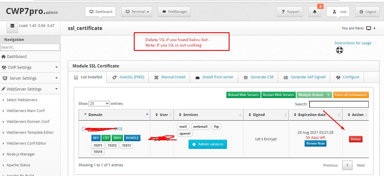 Delete not working SSL